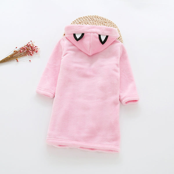 Flannel Bathrobe Night Gown - Kawaii Kitty Pink - Just Kidding Store