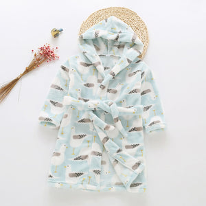 Plush Hooded Bathrobe - Kids Fleece Nightgown - Blue Bird - Just Kidding