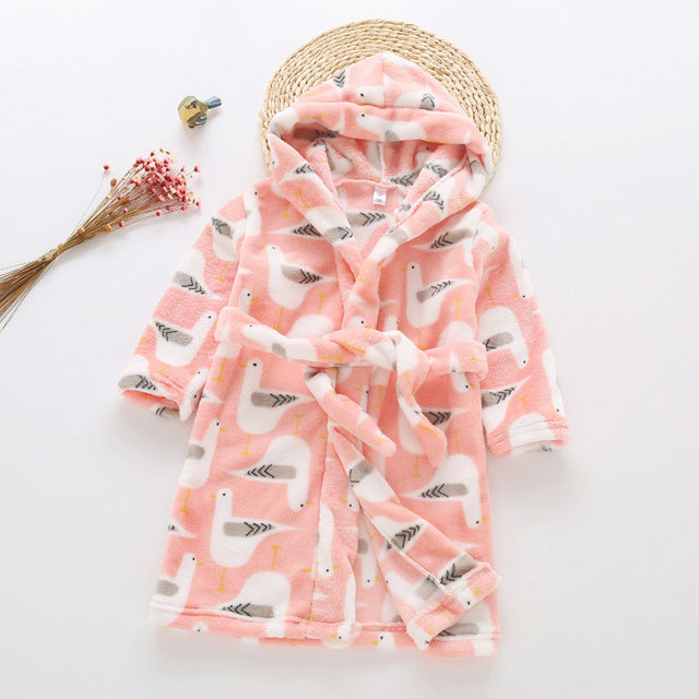 Plush Hooded Bathrobe - Kids Fleece Nightgown - Peach Bird - Just Kidding