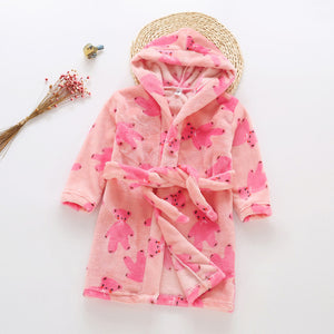 Plush Hooded Bathrobe - Kids Fleece Nightgown - Rose Bear