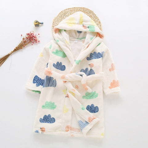 Plush Hooded Bathrobe - Kids Fleece Nightgown - Little Bird on Clouds - Just Kidding