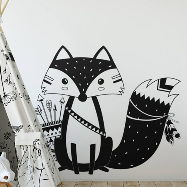 Tribal Fox Wall Decal - Kids Room Stickers - Just Kidding Store