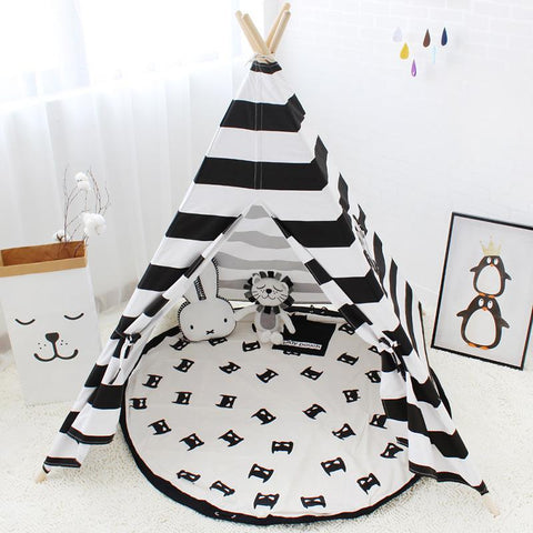 Black and White Striped Teepee - Kids Play Tent - Just Kidding Store