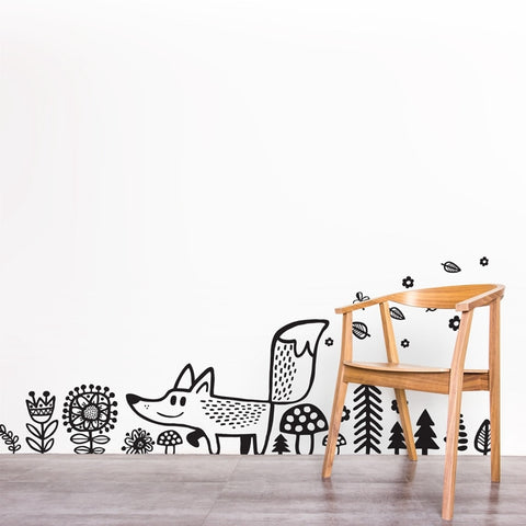 Fox Wall Decal -  Woodland Kids Room Wall Sticker - Just Kidding Store