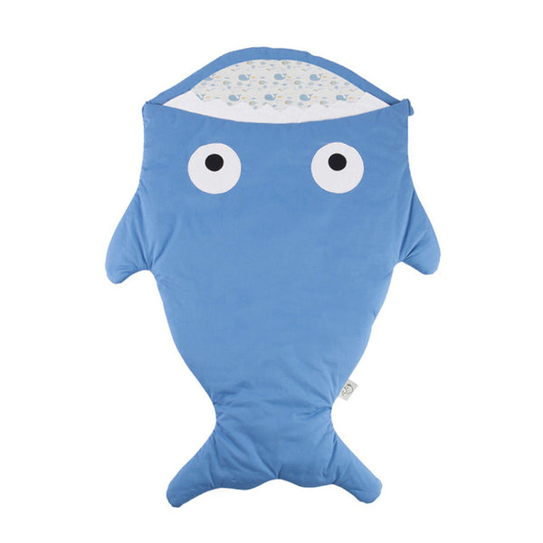 Baby Sleeping Bag -  Baby Cotton Sleep Sack - Indigo Little Shark