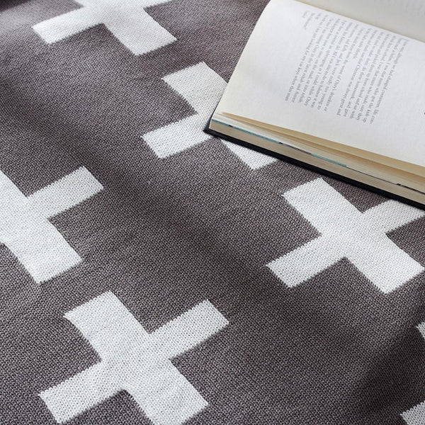 Monochrome double sided Cross knit blanket - Just Kidding Store