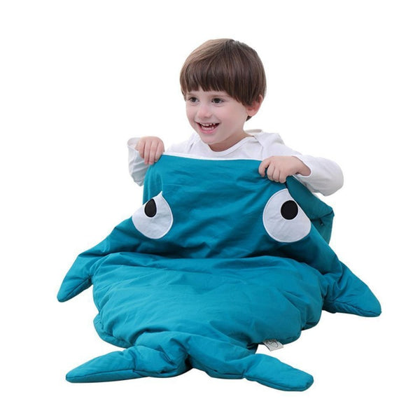Children Sleeping Bag - Kids Cotton Sleep Sack - Comfy Shark Gray