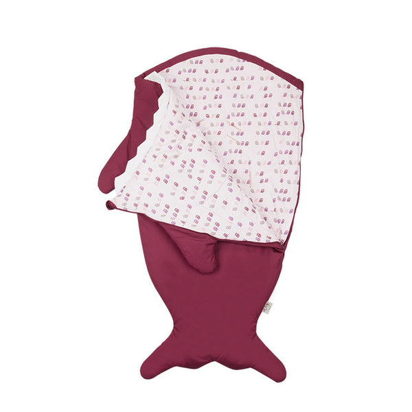 Children Sleeping Bag - Kids Cotton Sleep Sack - Comfy Shark Burgundy