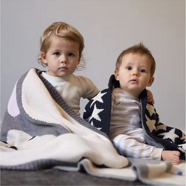 Kids Cotton Knitted Blanket  - Reversible Throw Blanket - Rabbit