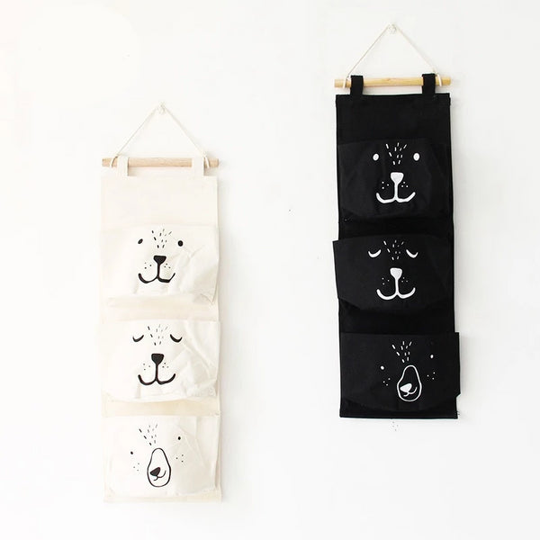Bear Wall Hanging Storage Pockets Canvas Organizer - Just Kidding Store