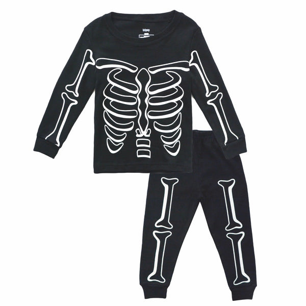 Luminous Skull Printed Kids Pajama Set - Just Kidding Store