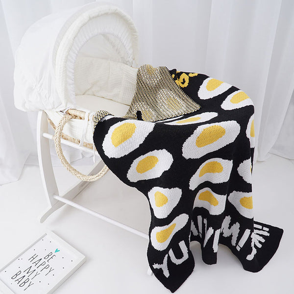 Yum Fried Eggs Cotton Knitted Blanket - Just Kidding Store