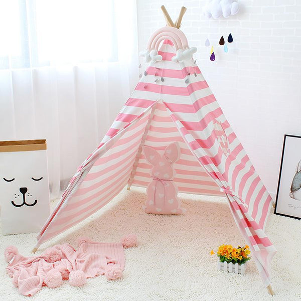 Pink and White Striped Teepee - Kids Indian Play Tent - Just Kidding Store