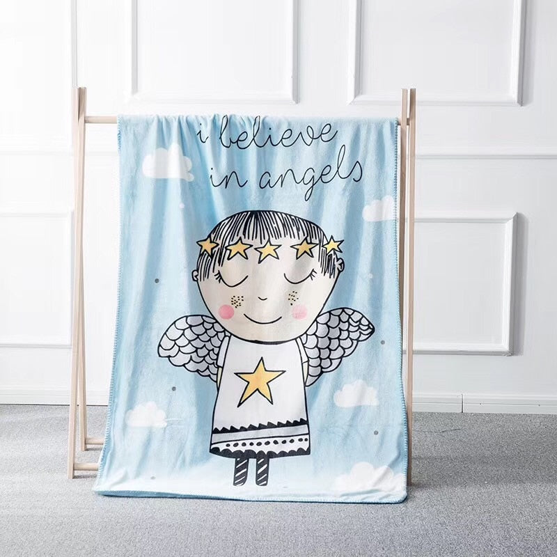 I Believe In Angels Coral Fleece Kids Blanket - Just Kidding Store