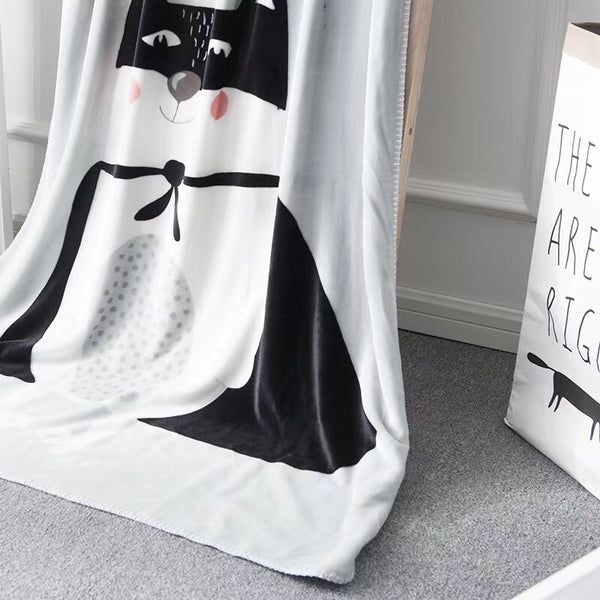 Bat Cat Coral Fleece Blanket - Kids Bed Throw - Just Kidding Store