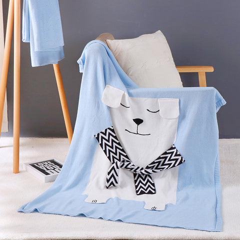 Polar Bear Cotton Knitted Blanket Bed Throw Blue - Just Kidding Store