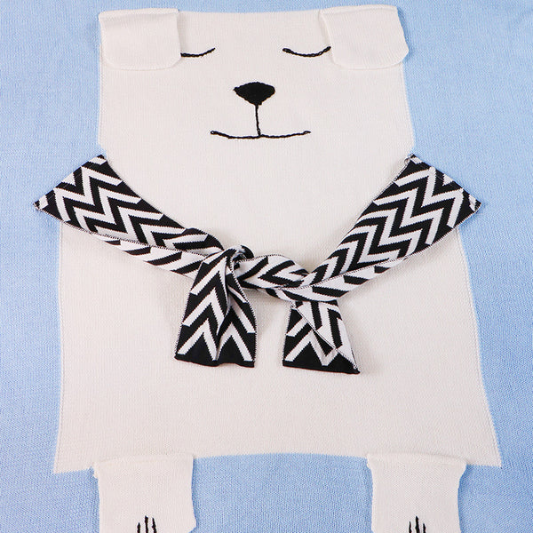 Polar Bear Cotton Knitted Kids Blanket - Bed Throw - Just Kidding Store