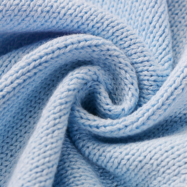 Polar Bear Cotton Knitted Blanket - Bed Throw - Blue