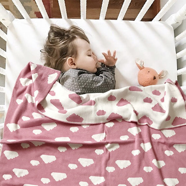 Double Sided Clouds  Kids Blanket - Pink Blue - Just Kidding Store