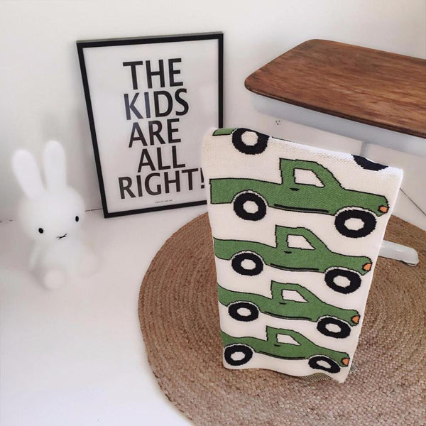Green Truck Baby Kids Cotton Knitted Blanket - Just Kidding Store