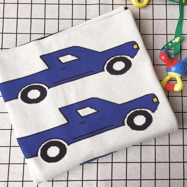 Royal Blue Truck Baby Kids Cotton Knitted Blanket - Just Kidding Store