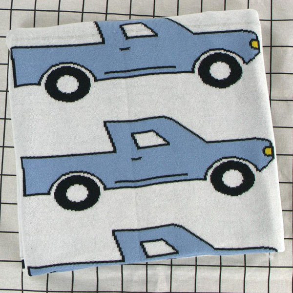 Blue Truck Baby Kids Cotton Knitted Blanket - Just Kidding Store