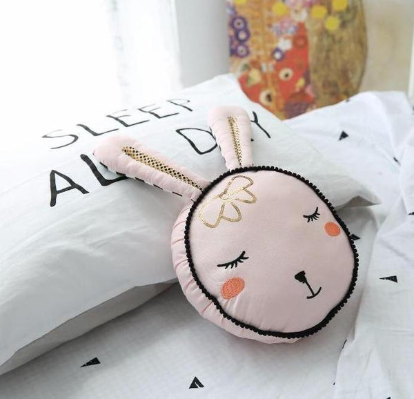 Sleepy Bunny Pillow - Pink Cushion - Just Kidding Store