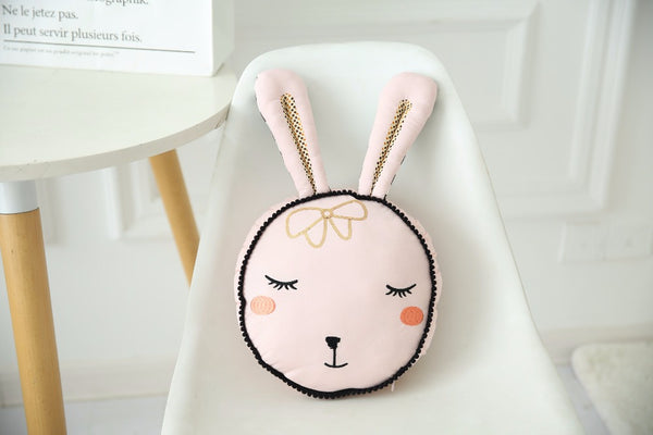 Sleepy Bunny Pillow - Pink Cushion