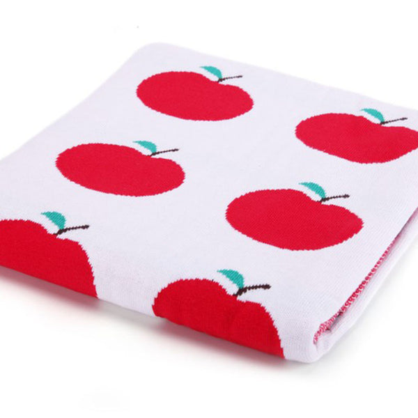 Knit Baby Blanket -  Kids Bedding Cover - Red Apple - Just Kidding Store