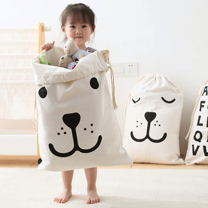 Canvas Storage Bag - Smily Bear Kids Toys Pouch - Just Kidding Store
