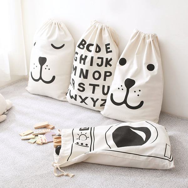 Canvas Storage Bag - Kids Toys Pouch - Just Kidding Store
