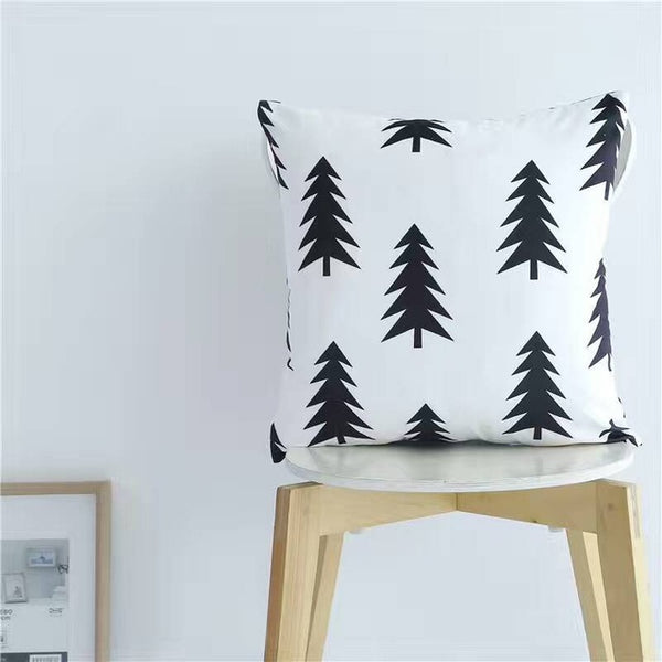 Nordic Style Pillows - Black and White Tree Cushion - Just Kidding Store