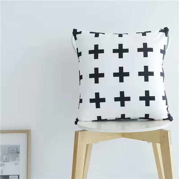 Nordic Style Pillows - Black and White Cross Cushions - Just Kidding Store
