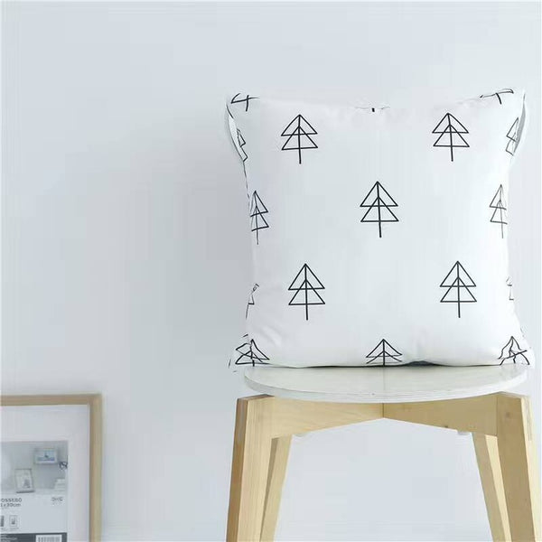 Nordic Style Pillows - Black and White Pine Tree Cushion - Just Kidding Store