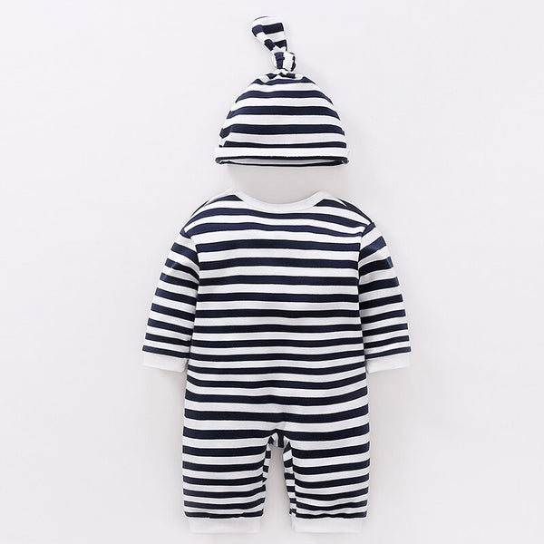 Striped Owl Baby Kids Romper With Hat And Bib - Just Kidding Store