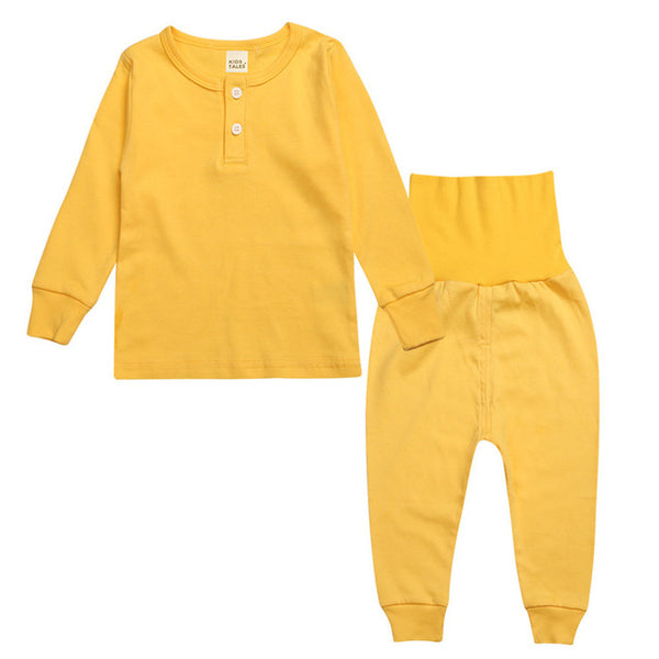 High Waist Sleepwear Set - Kids Pajamas - Yellow