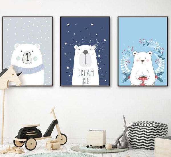 Animal Print Canvas Paintings -Three Little Bears - Just Kidding Store