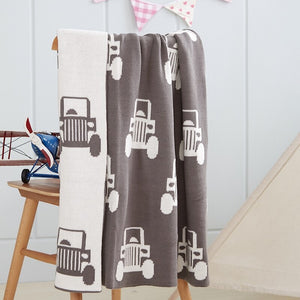 Big Truck Baby Kids Cotton Knitted Blanket - Just Kidding Store