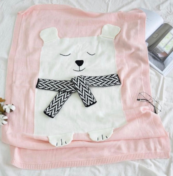 Soft Knitted Bear Blanket - Gray/Blue/Pink