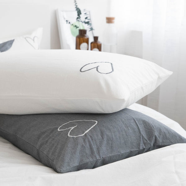 Nordic Simply Washed Cotton Love Heart Pillowcase - Just Kidding Store