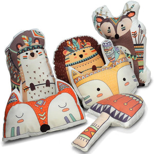 Woodland Animal Kids Cushions - Tribal Pillows - Just Kidding Store