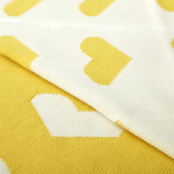Double Sided Cotton Knitted Blanket Yellow Hearts - Just Kidding Store