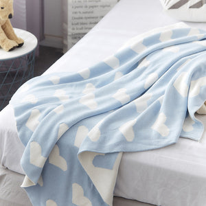 Double Sided Cotton Blanket - Light Blue Hearts - Just Kidding Store