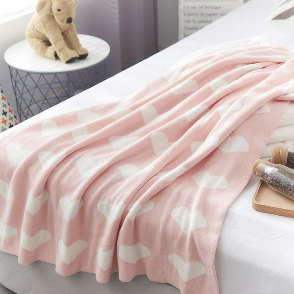 Double Sided Cotton Knitted Blanket - Rose Hearts - Just Kidding Store