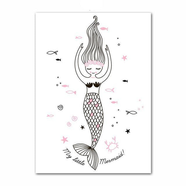 Nordic Canvas Wall Art Ballerina Girl Mermaid Unicorn - Just Kidding Store