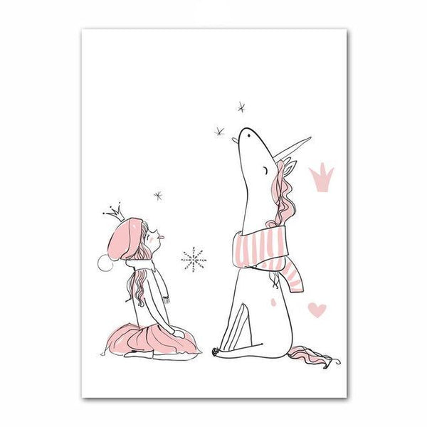 Canvas Wall Art - Unicorn Girl Rabbit - Just Kidding Store