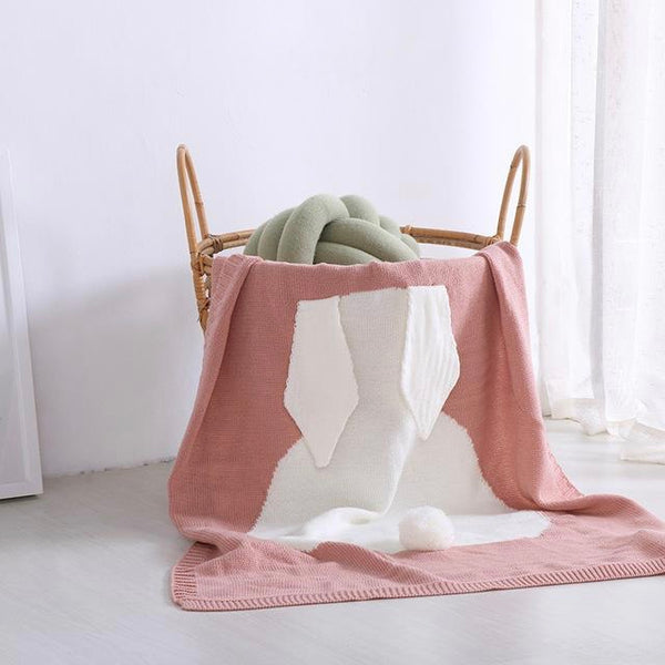 Soft Knitted Cute Rabbit Baby Kids Blanket - Bunny Ears Blanket - Just Kidding Store