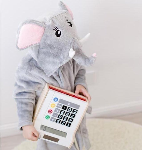 Gray elephant fleece babies and kids bathrobes - Just Kidding