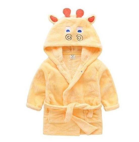 Yellow Fawn flannel babies and kids bathrobes - Just Kidding Store
