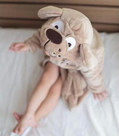 Brown dog flannel hooded kids bathrobes - Just Kidding Store